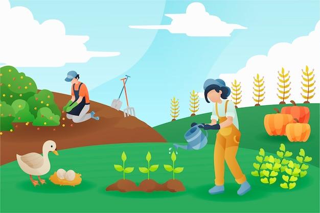 Concepto de agricultura ecológica hombre y mujer