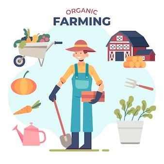 Concepto de agricultura ecológica con hombre y plantas.