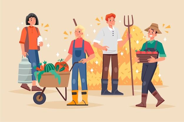 Concepto de agricultura ecológica con humanos