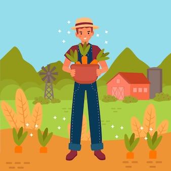 Concepto de agricultura ecológica ilustrado