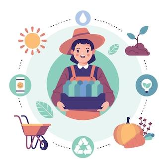 Concepto de agricultura ecológica con mujer sosteniendo bienes