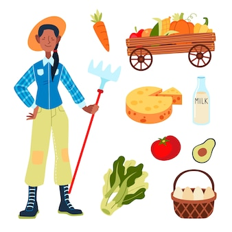 Concepto de agricultura ecológica con mujer
