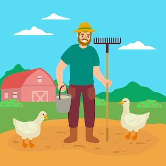 Concepto de agricultura ecológica y patos