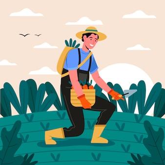 Concepto de agricultura ecológica con persona