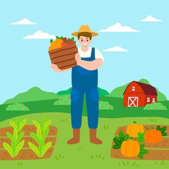 Concepto de agricultura ecológica con verduras