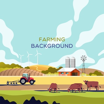 Concepto de agricultura y ganadería de la industria agrícola paisaje rural con espacio de copia para ilustración de texto