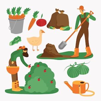 Concepto de agricultura orgánica excavadora y cosechando la fruta