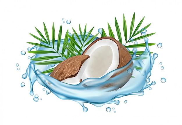 Concepto de agua de coco. coco realista, salpicaduras de agua y hojas de palma