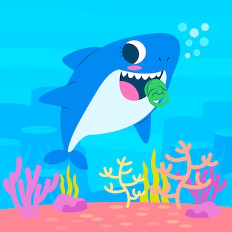 Concepto de agua de tiburón bebé