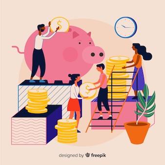 Concepto de ahorrar dinero