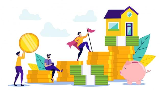 Concepto de ahorro de dinero para comprar casa