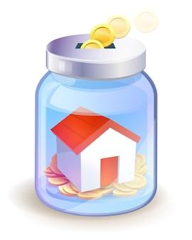 Concepto de ahorro de dinero. un frasco con casa y monedas de oro en la ilustración de it.vector.
