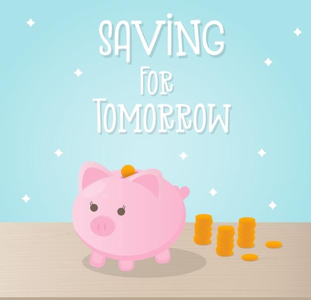 Concepto de ahorro de dinero con linda hucha y monedas