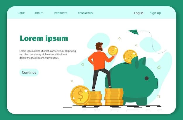 Concepto de ahorro de dinero. mini empresario trae dinero en una alcancía gigante.