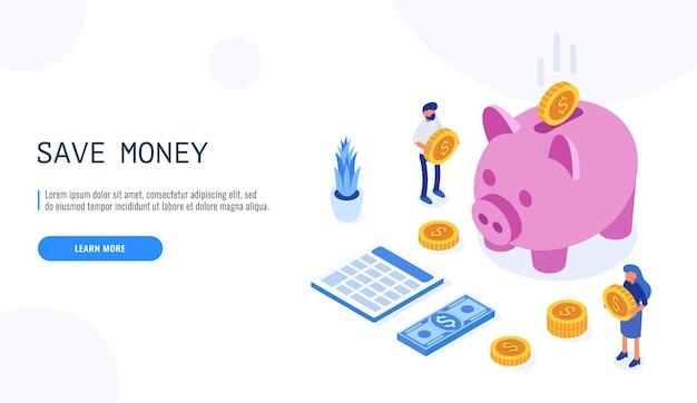 Concepto de ahorro de dinero. los usuarios sostienen monedas y se paran cerca de la alcancía.