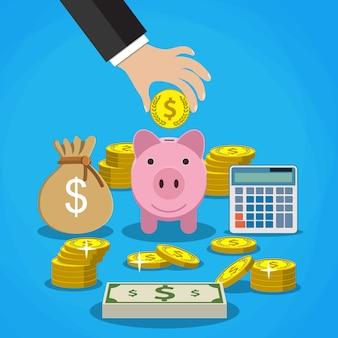 Concepto de ahorro de dinero.