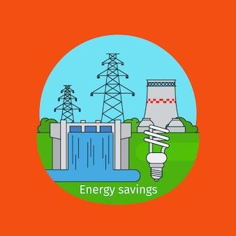 Concepto de ahorro de energía con bombilla.