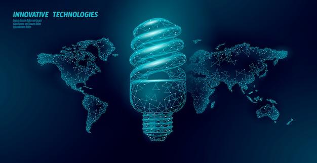 Concepto de ahorro de energía de lámpara fluorescente compacta. mapa del mundo planeta planeta poligonal.
