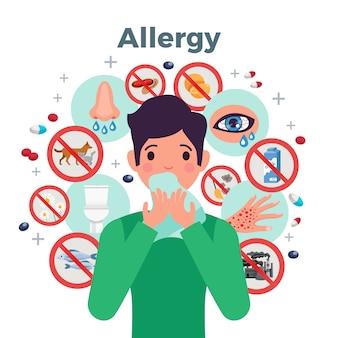 Concepto de alergia con factores de riesgo y síntomas, ilustración vectorial plana