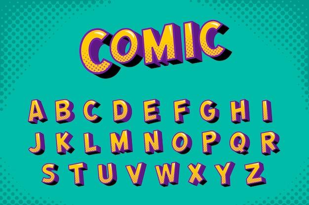 Concepto de alfabeto cómico 3d