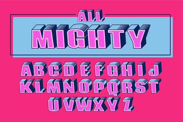 Concepto de alfabeto en concepto cómico 3d