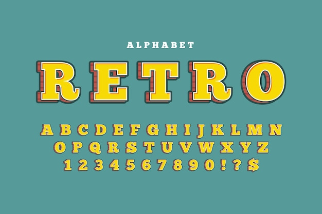 Concepto de alfabeto retro 3d