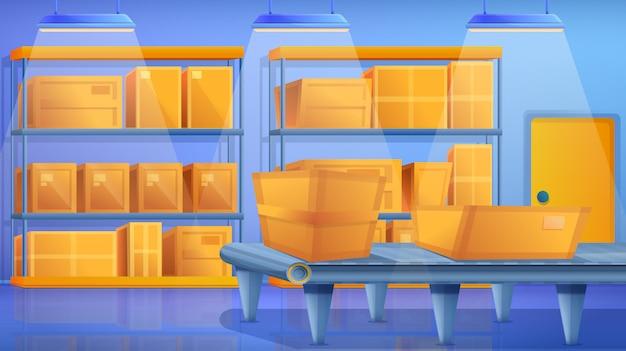 Concepto de almacén, estilo de dibujos animados