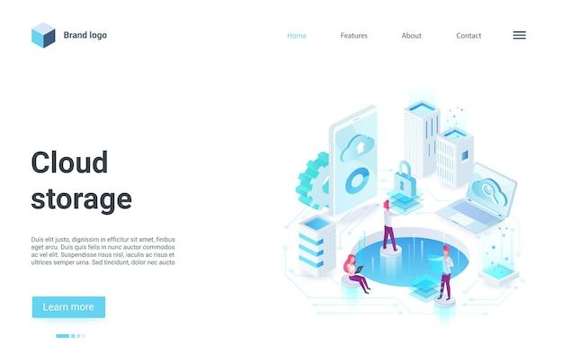 Concepto de almacenamiento de copia de seguridad en la nube, página de destino isométrica, departamento de lugar de trabajo de la oficina en la nube