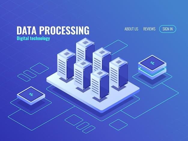 Concepto de almacenamiento de datos grandes e icono isométrico de respaldo, base de datos de sala de servidores y centro de datos