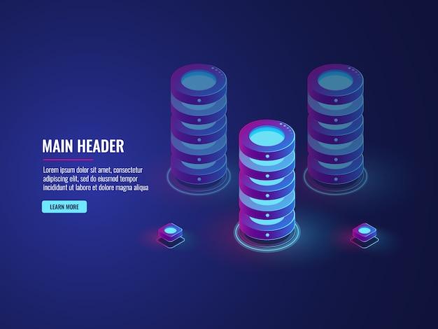 Concepto de almacenamiento en la nube de la base de datos isométrica, icono de la sala de servidores, procesamiento de datos grandes