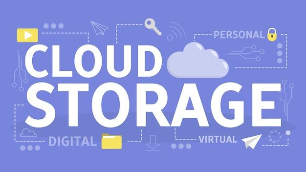 Concepto de almacenamiento en la nube. idea de base de datos y servidor