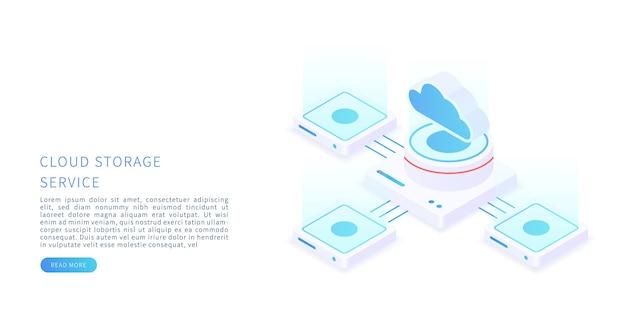 Concepto de almacenamiento en la nube en la ilustración vectorial isométrica