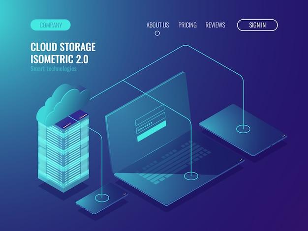Concepto de almacenamiento en la nube, transferencia de datos. sala de servidores, centro de datos grandes