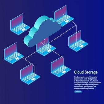 Concepto de almacenamiento en la nube de transferencia de datos.