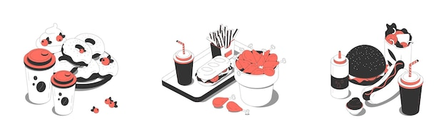 Concepto de almuerzo de comida rápida 3 composiciones isométricas con donas, refrescos, postre, hamburguesa, hotdog, papas fritas