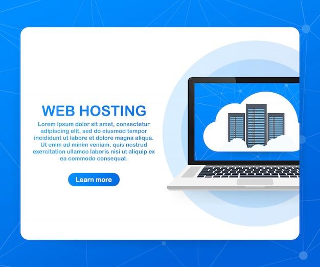 Concepto de alojamiento web con diseño de computación en la nube.