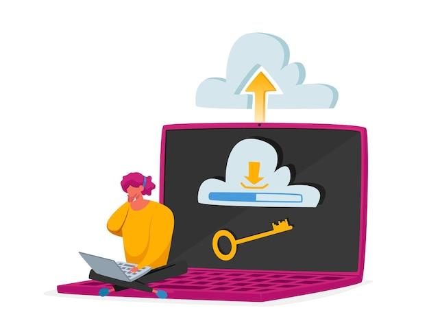 Concepto de alojamiento web y en la nube. diminuto personaje femenino sentado en una enorme computadora portátil con llave en la pantalla