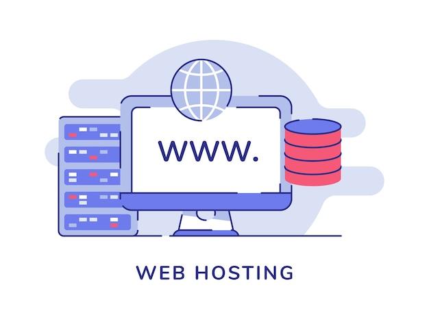 Concepto de alojamiento web servidor de computadora almacenamiento de base de datos