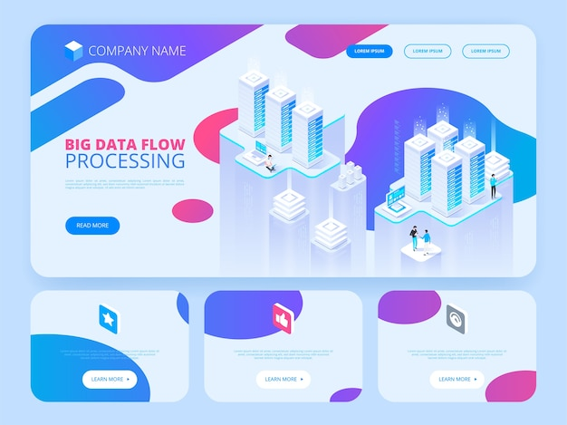 Concepto de alta tecnología. centro de datos, procesamiento de macrodatos, proceso de redes, enrutamiento y almacenamiento de datos. ilustración isométrica