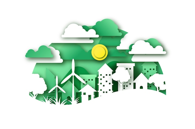 Concepto ambiental en papel con ciudad y molinos de viento.