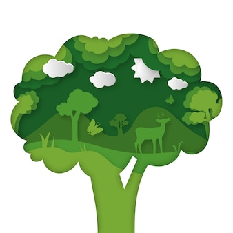 Concepto ambiental en papel estilo con árbol