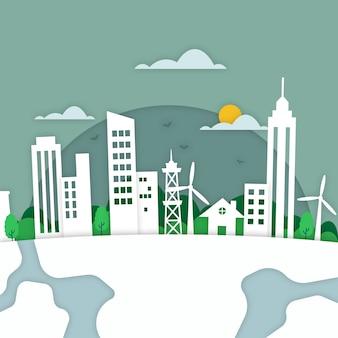 Concepto ambiental en papel con panorama