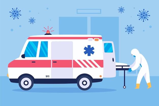 Concepto de ambulancia de emergencia