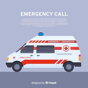 Concepto de ambulancia en estilo flat
