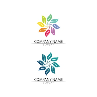 Concepto amigable de logotipo verde y hoja de árbol