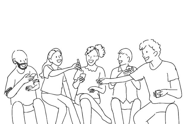 Concepto de amistad feliz de vector de doodle de salud