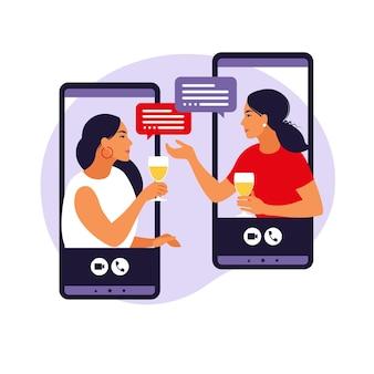 Concepto de amistades virtuales. mujeres en fiesta virtual.