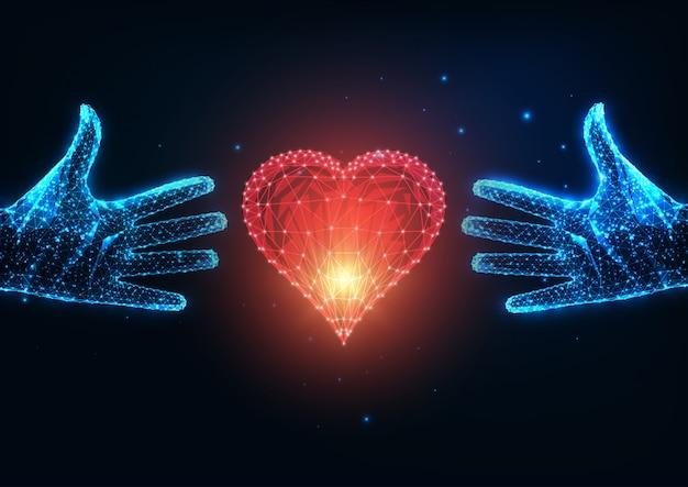Concepto de amor futurista con brillantes dos manos humanas poligonales bajas tratando de alcanzar un corazón rojo