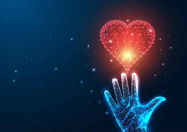 Concepto de amor futurista con mano femenina poligonal baja brillante que alcanza el corazón rojo