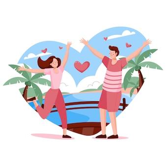 Concepto de amor en la ilustración de diseño plano